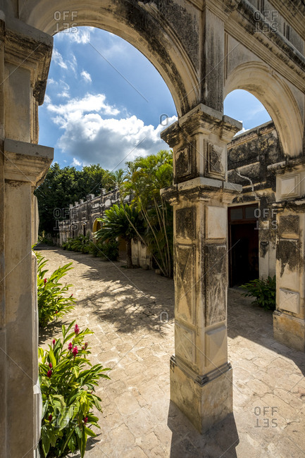 Yaxcopoil, Yucatan, Mexico - October 13, 2017: Arches at the Hacienda Yaxcopoil in the state of Yucatan in Mexico