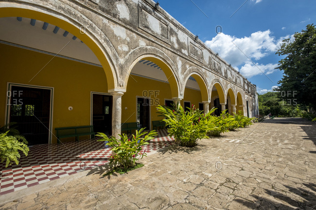 Yaxcopoil, Yucatan, Mexico - October 13, 2017: Hacienda Yaxcopoil, now is a museum, in the state of Yucatan in Mexico