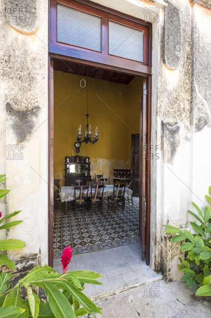 Yaxcopoil, Yucatan, Mexico - October 13, 2017: View into dining room at Hacienda Yaxcopoil in the state of Yucatan in Mexico