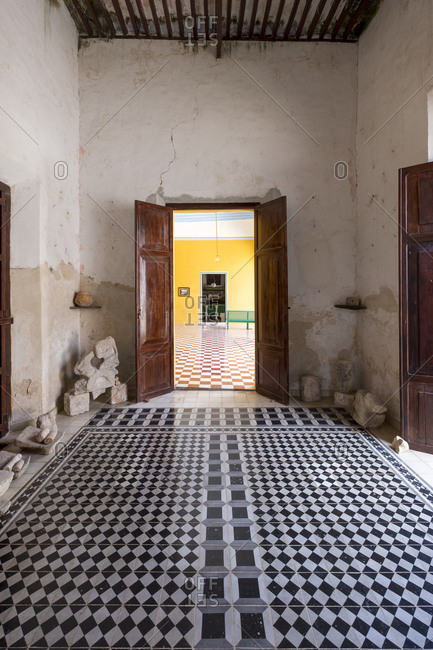 Yaxcopoil, Yucatan, Mexico - October 13, 2017: View inside the Hacienda Yaxcopoil in the state of Yucatan in Mexico