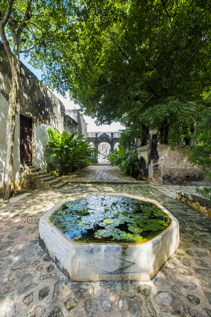 Yaxcopoil, Yucatan, Mexico - October 13, 2017: Small pool at the Hacienda Yaxcopoil in the state of Yucatan in Mexico
