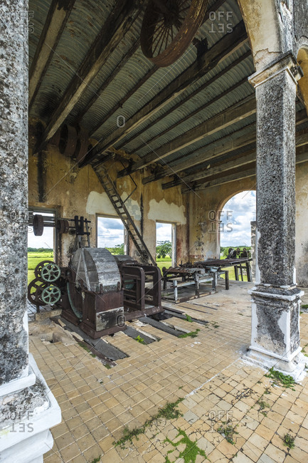 Yaxcopoil, Yucatan, Mexico - October 13, 2017: Old henequen processing machinery at Hacienda Yaxcopoil in the state of Yucatan in Mexico