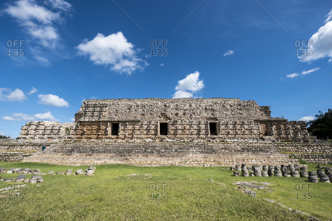 Kabah, Yucatan, Mexico - October 13, 2017: Remains of the Mayan archaeological site of Kabah on the Puuc route in the state of Yucatan in Mexico
