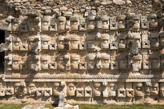 Kabah, Yucatan, Mexico - October 13, 2017: Detail of stonework at the Mayan archaeological site of Kabah on the Puuc route in the state of Yucatan in Mexico