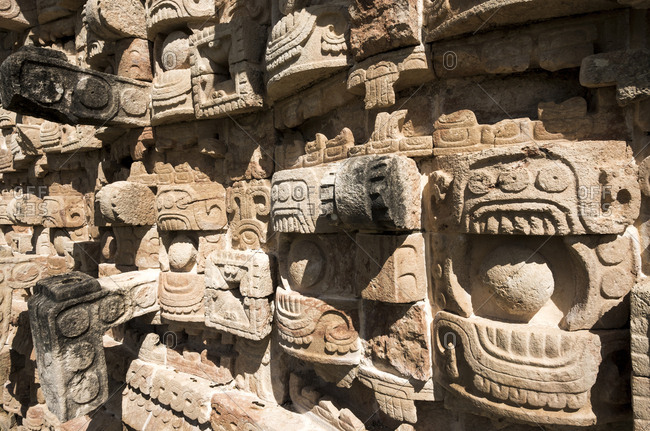 Kabah, Yucatan, Mexico - October 13, 2017: Close up of stonework at the Mayan archaeological site of Kabah on the Puuc route in the state of Yucatan in Mexico