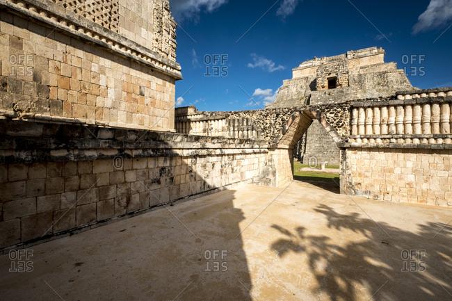 Uxmal, Yucatan, Mexico - October 13, 2017: The Pyramid of the Magician in the Maya City of Uxmal, Mexico