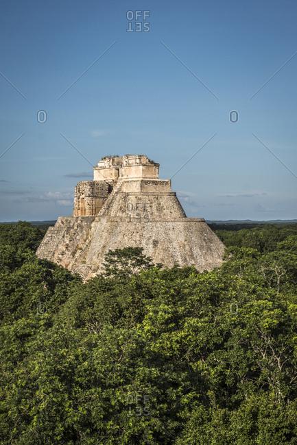 Uxmal, Yucatan, Mexico - October 13, 2017: The Pyramid of the Magician in Uxmal, Mexico