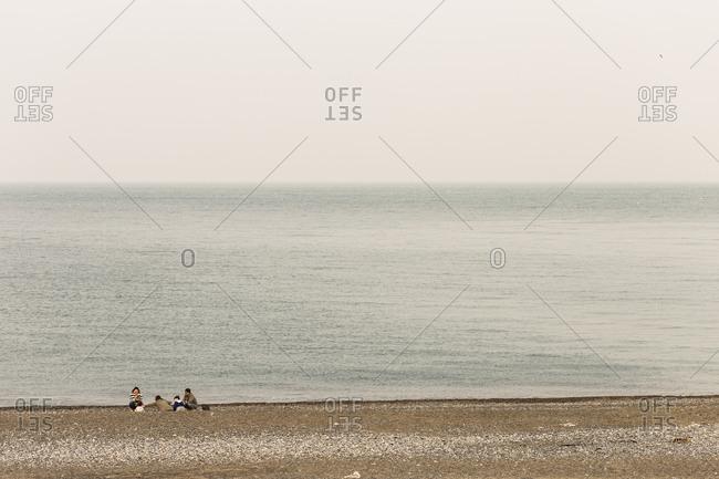 April 1, 2018 - Ulsan, SouthKorea: On the beach in Korea, full of fine dust