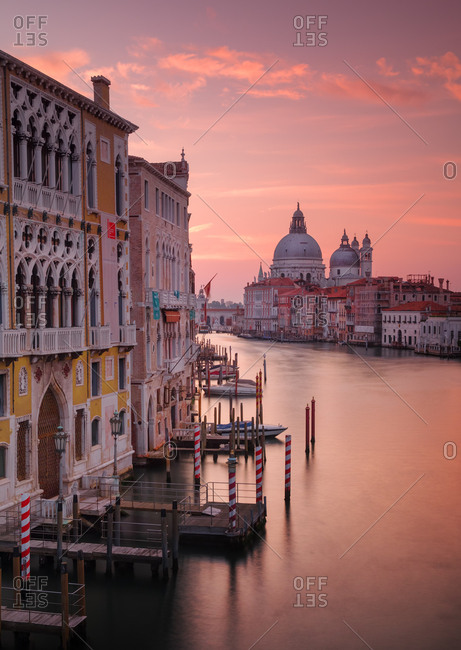 Venice, Italy - September 27, 2017: The Santa Maria della Salute, Roman Catholic church at sunrise on the Grand Canal