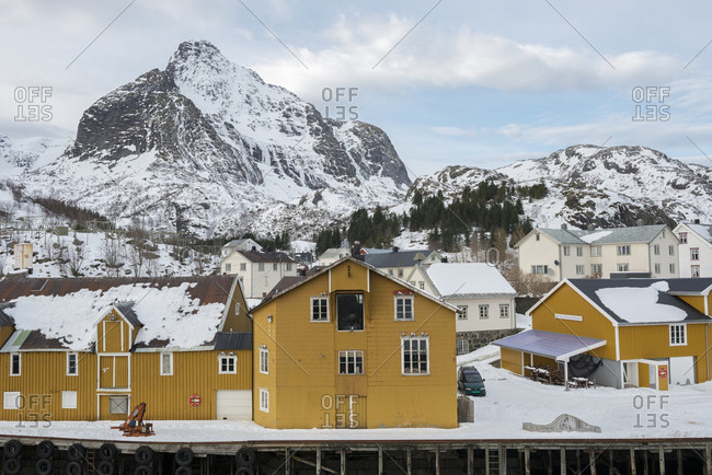 Norway - March 8, 2017: Wooden houses of a well-preserved fishing village in winter