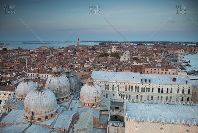 The city of Venice at sunset with the San Marco basilica
