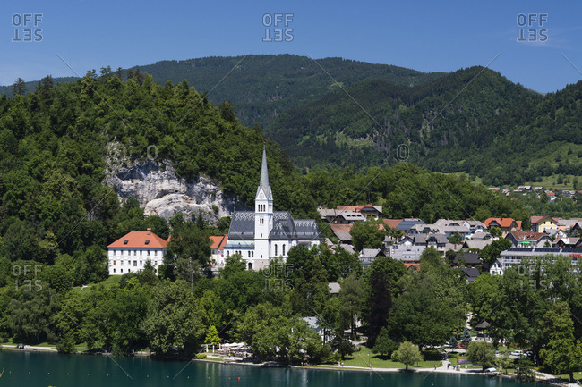 A view of the town of Bled and Saint Martin's church