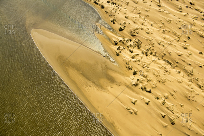 An aerial of the sand dunes of the Namib Desert