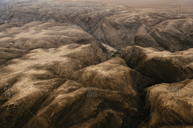Aerial view of canyon in the Namib Desert