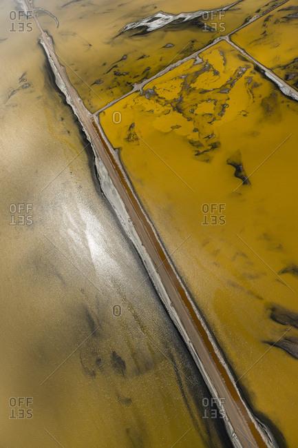 An aerial view of salt ponds