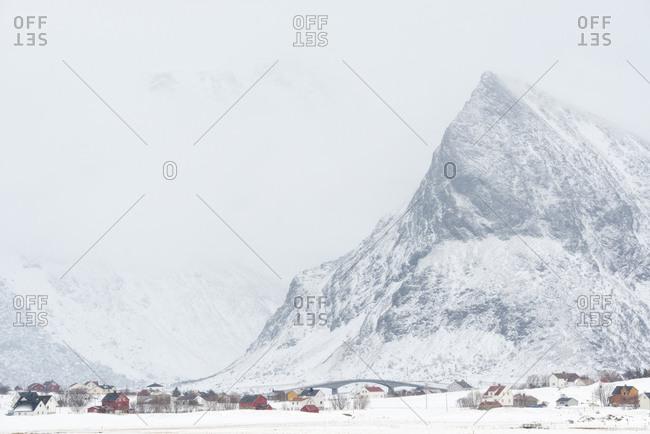 Village in coastal mountain landscape