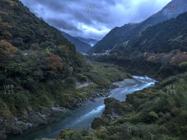 A storm above the Yoshino River in late afternoon
