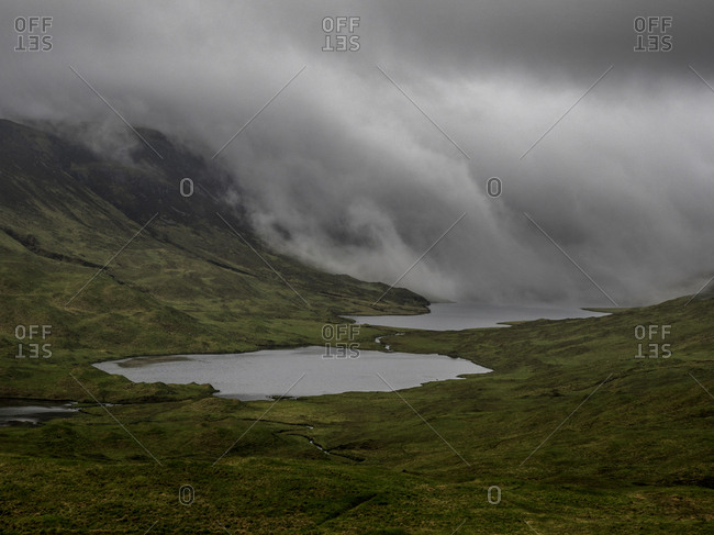 Clouds over two lochs in the Scottish highlands