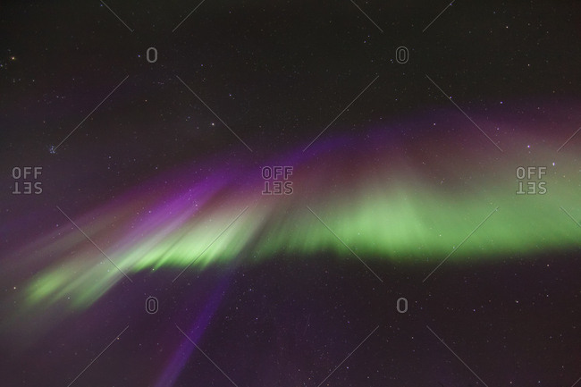Colorful aurora crown or corona during an intense northern lights activity