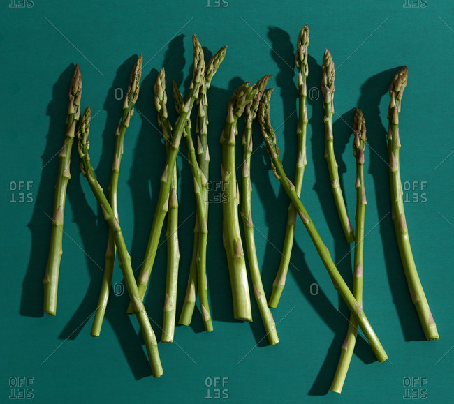 Raw asparagus on green background
