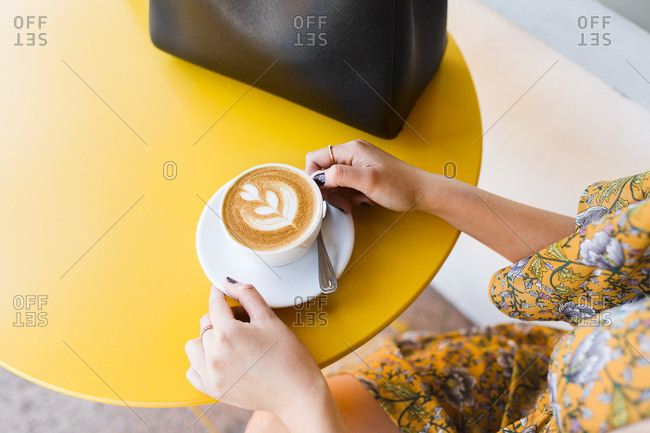 Overhead view of woman's hands holding cappuccino decorated with fern leaf
