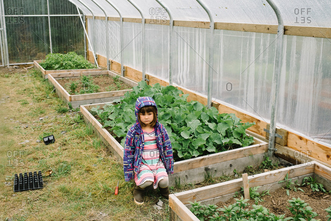 Girl inside greenhouse sitting next to garden plot