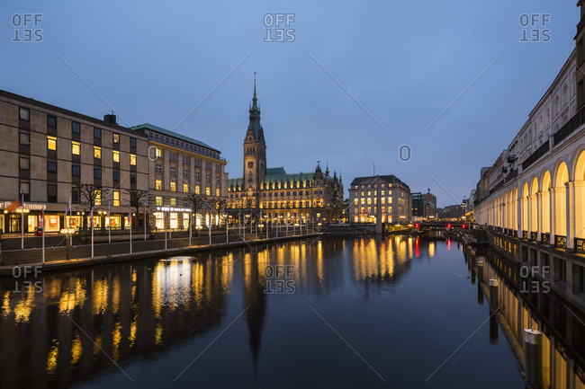 Hamburg, Germany - March 14, 2016: Town hall and Little Alster in the evening