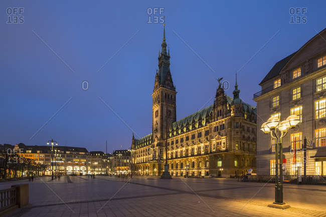 Hamburg, Germany - March 14, 2016: Town hall at blue hour