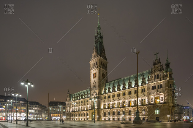 Hamburg, Germany - March 14, 2016: Town hall at night