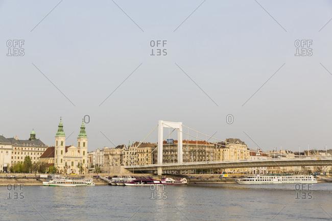 Budapest, Hungary - April 5, 2016: Danube river- Elisabeth Bridge