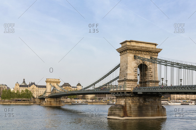 Budapest, Hungary - April 5, 2016: Danube river- Chain bridge