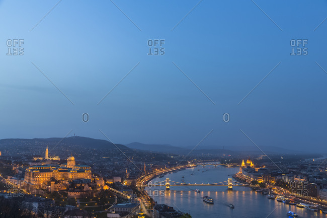 Budapest, Hungary - April 5, 2016: Buda and Pest- Danube river- Budapesti Torteneti Muzeum