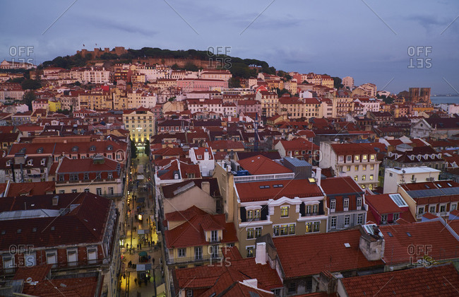 Lisbon, Portugal - November 11, 2016: Cityscape in the evening