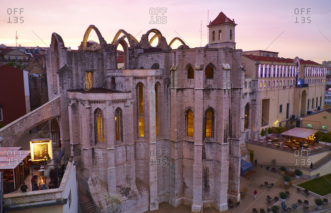 Lisbon, Portugal - November 11, 2016: Convento do Carmo in the evening