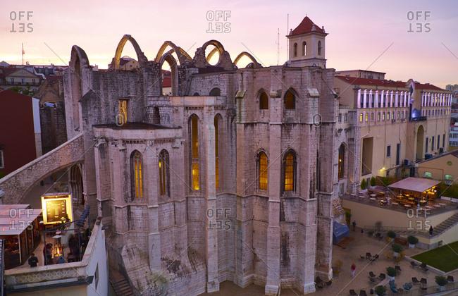 Lisbon, Portugal - November 11, 2016: Convento do Carmo in the evening