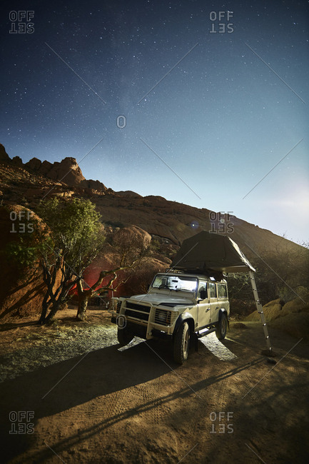 Africa- Namibia- Spitzkoppe- starry sky- off-road vehicle with roof tent