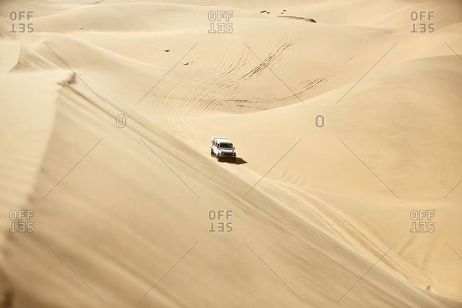 Africa- Namibia- Namib-Naukluft National Park- Namib desert- desert dunes- off-road vehicle