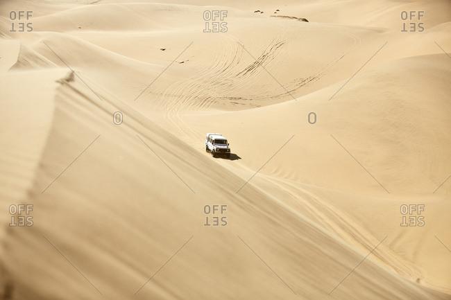 Africa- Namibia- Namib-Naukluft National Park- Namib desert- desert dunes- off-road vehicle