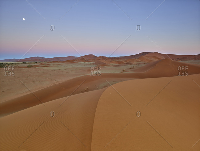 Africa- Namibia- Namib-Naukluft National Park- Namib desert- desert dunes and afterglow