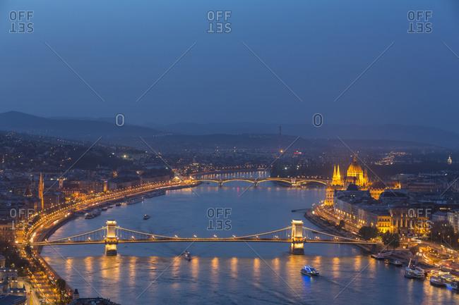 Hungary- Budapest- Buda and Pest- Danube river- Chain bridge- Elisabeth Bridge and Parliament building- blue hour