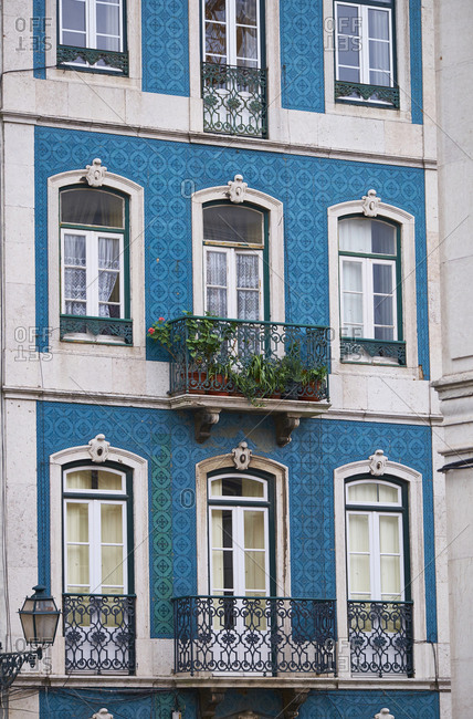 Portugal- Lisbon- Facade of house with azulejos