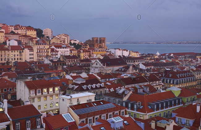 Portugal- Lisbon- cityscape in the evening