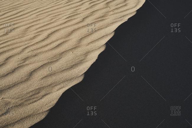 Italy- Sardinia- Porto Pino- dune- sand- ripple marks- shadow