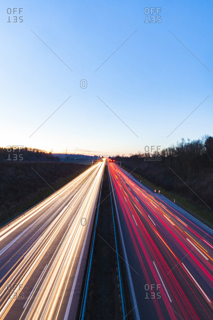 Germany- Baden-Wuerttemberg- Autobahn A8 near Wendlingen in the evening- light trails