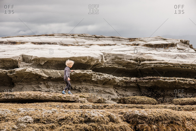 Little boy exploring Hawke's Bay, New Zealand