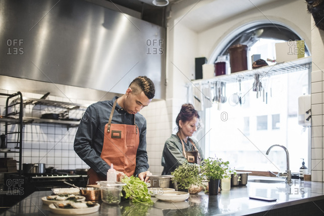 Young male chef preparing food by female colleague at kitchen counter in restaurant