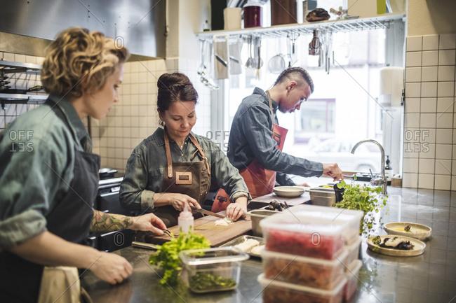 Multi-ethnic chefs preparing food at kitchen counter in restaurant