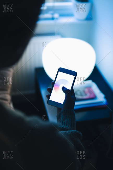 Rear view of teenage girl using smart phone in room at home