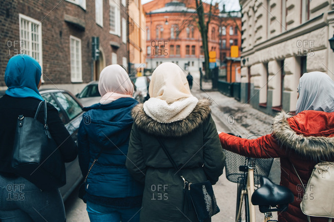 Rear view of female friends walking with bicycle on street in city