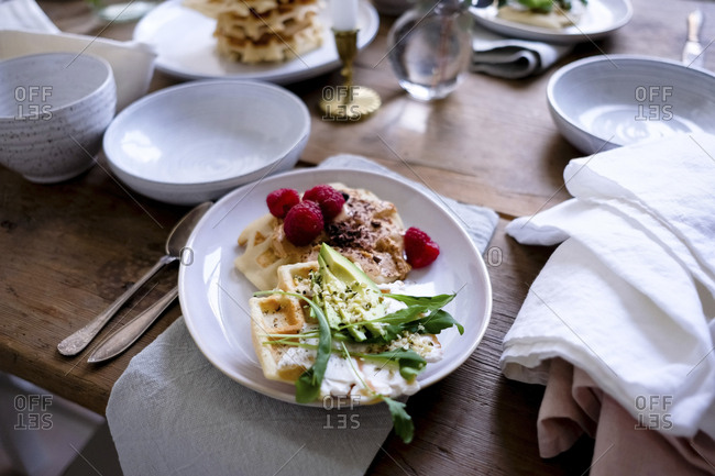 Close-up of food on plate at wooden table